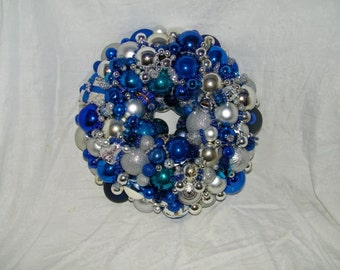 intage Blue Silver Christmas ornament wreath Hanukkah Chanukah 18250