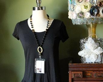 Id badge holders, beaded lanyards, black, eye glass holder, necklace, breakaway, handmade,French jewelry, FREE SHIPPING