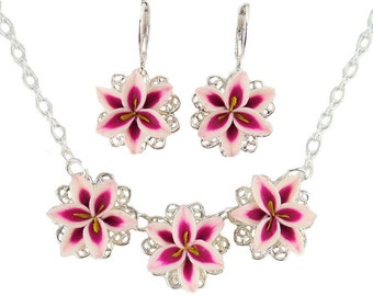 Stargazer Lily Jewelry Set - Trio Stargazer Lily Jewelry, Stargazer Lily Wedding Jewelry, Pink Lily Gifts Idea