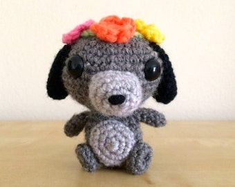Crocheted Pup with Flower Crown