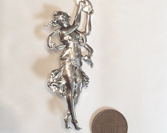 Roman muse dancer tambourine Art nouveau style large silver plated brooch / pin