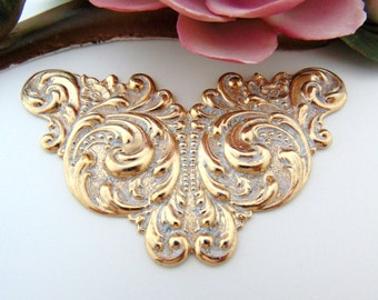GOLD PLATED (2 Pieces) Art Nouveau Scroll Cartouche Stamping ~ Frosted White Patina Brass Jewelry Finding (C-809) #