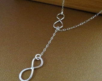 THREE DAY SALE Sterling silver Infinity necklace, Infinity Jewelry, Lariat Style, Infinity Necklace, Mother's Necklace,Figure Eight Charms
