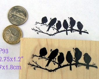 P93 Six birds on a branch rubber stamp