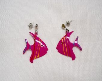 Vintage 1980s 80s Fish Earrings Fuchsia Fish Hot Pink Earrings Enamel Earrings Cut Out Metal 80s Accessories Eighties Fashion 80s Jewelry
