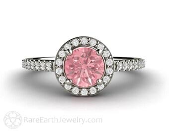 Pink Sapphire Engagement Ring Pink Sapphire Ring 14K Gold Diamond Halo Gemstone Ring