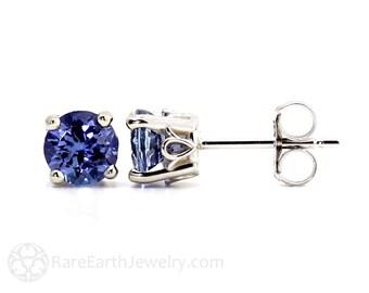 Tanzanite Earrings 14K Tanzanite Stud Earrings From Pick your Size Post Earrings December Birthstone
