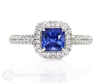 Blue Sapphire Engagement Ring Pave Diamond Halo Sapphire Ring Custom Bridal Jewelry