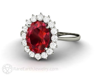 Ruby Engagement Ring Ruby Ring Oval Cluster Halo Diamonds July Birthstone Red Gemstone