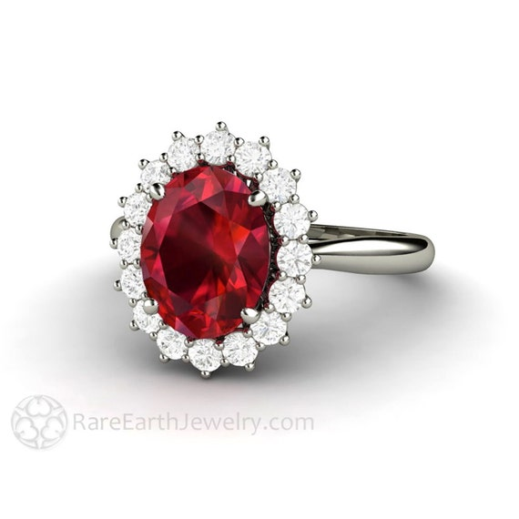 ruby engagement ring ruby ring oval cluster halo diamonds july