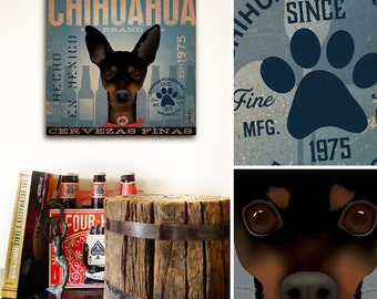 Chihuahua Dog Beer Brewing Company illustration graphic art on gallery wrapped canvas by stephen fowler