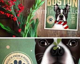 Boston Terrier dog mistletoe company christmas holiday art print by stephen fowler geministudio