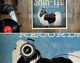Shih Tzu Dog Records album artwork graphic art giclee archival print by stephen fowler