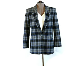 Vintage 1980s  or Early 90s Wool Blend Plaid Jacket, Very Cool, Notched Collar, Designer Karen Kane, Small Size, Womens' Fitted Wool Blazer