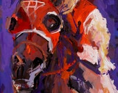 Seabiscuit - Abstract Racehorse Painting - Painted by Ron Krajewski and his Retired Racehorse, Metro.