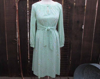 Vintage mint green Dress Green Apple print 70s fit and flare boho Dress vintage 70s poly knit dress S M