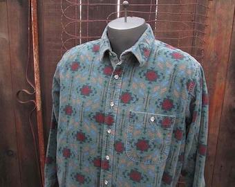 Southwest shirt 90s vintage Five Brothers Shirt vintage flannel shirt long sleeve shirt L