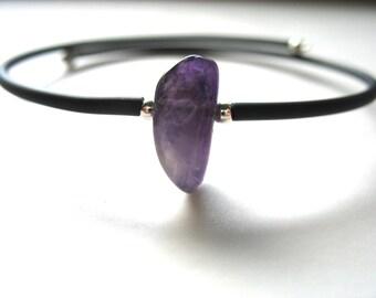 Amethyst Bracelet, Amethyst Stone Bounce Back Cuff Bracelet, Handmade Amethyst Jewelry, Gemstone Jewelry