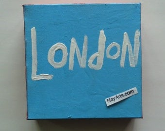 London Canvas Original Word Art Folk Painting  By NayArts