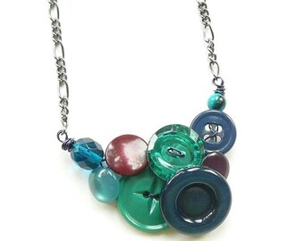Christmas in July Sale Small Jewel Tones Button Necklace in cool colors with emerald green