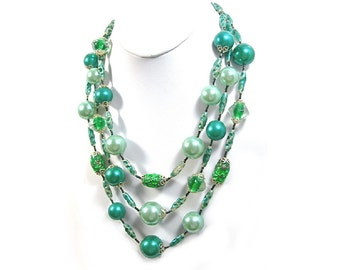 Green Art Glass Beads Necklace, 3 Strands, Shades of Green, Gorgeous Mid-Century Costume Jewelry, Mermaid's Necklace