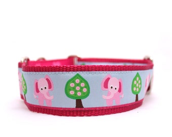 "1.5"" Pink Elephant martingale or buckle dog collar"