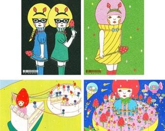 Set of Postcard  -Strawberry-