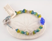 Seahawks Blue and Green Glass Bead and Pewter Bracelet
