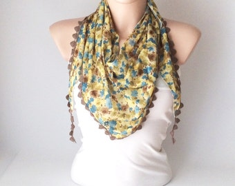 Lace Scarf, Flower Scarf, Yellow color blue flowers desing  with light brown flower