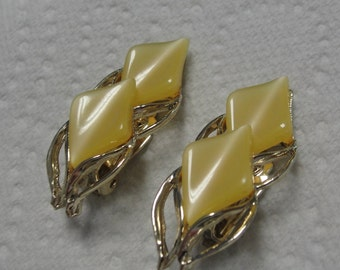 Lucite and Gold Tone Clip Earrings