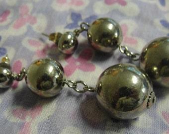 Double Silver Tone Ball Dangle Pierced Earrings