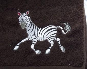 Zebra Embroidered Bath Towel, Wildlife Gift, Embroidery