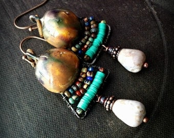 Porcelain, Wire Work, Rustic, Hoops, Clay, Tribal, Primitive, Agate, African Beads, Wire Wrapped, Organic, Beaded Earrings