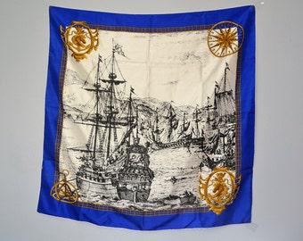 vintage nautical silk scarf