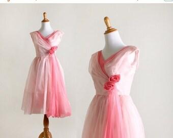 ON SALE Vintage Rose 1960s Dress - Cotton Candy Pink Chiffon Party Dress - XS Xxs Prom Dress