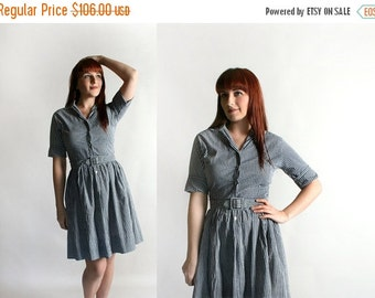ON SALE Vintage 1950s Cotton Dress - Black and White Gingham Picnic Button Up Shirtwaist Dress with Belt - Medium Small