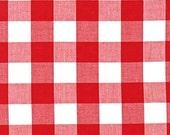 """Plaid Fabric, Plaid Scarf Fabric, DIY Plaid Blanket Scarf, Apparel Fabric, Carolina 1"""" Gingham Fabric in Red by R. Kaufman, Buffalo Plaid,"""