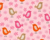 SALE fabric, Bird Fabric, Girl Fabric, Pink fabric, Acorn Forest fabric bundle, Robert Kaufman, Birds in Sweet, You Choose the Cut