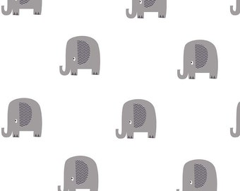Double Gauze Fabric, Elephant Fabric, Baby fabric, Lightweight fabric for Baby Swaddle blanket, Baby Gift, Cotton fabric, Elephant Gray