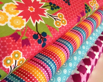 Meadow Bloom fabric bundle of 4 by April Rosenthal for Moda, Floral fabric, Stripe fabric, Quilt fabric, Choose the cuts