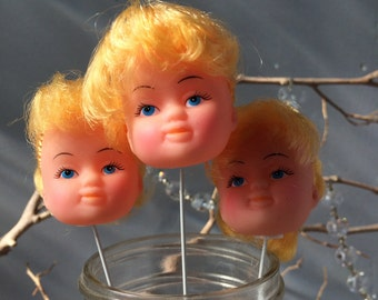 VINTAGE DOLL...3 little doll heads on sticks ~ Barbie style ~ cake party decor ~ display blonde girl retro fun funky toys ~ craft supplies