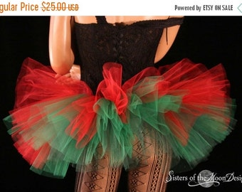 ON SALE Ready to ship Adult elf tutu skirt Peek a boo mini red and green costume christmas holiday dance bridal - XSmall - Sisters of the Mo
