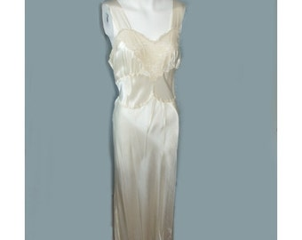 1940's Bias Cut White Satin Wedding Nightgown & Robe