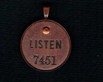 Handmade Cold Connection Listen Pendant Charm Antique Copper