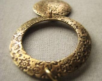 Gold Circle Pendant Oxidized Brass Pendant Item No. 2285