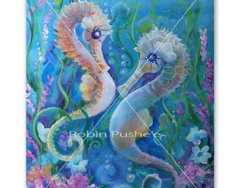 Original Painting on Canvas, Gallery Wrapped, 16x20, Colorful Sea Horses