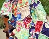 Queen Quilt,  Rag Quilt, PICK YOUR FABRICS, Handmade Cozy, Warm Quilt