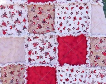 Sock Monkey Rag Quilt - Red, Brown - Lap Quilt - Baby Rag Quilt - Toddler Rag Quilt