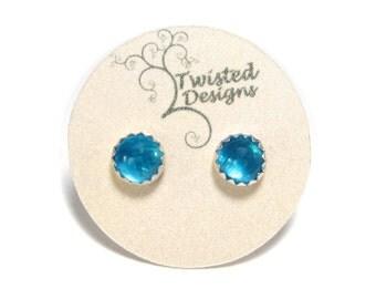 Blue Apatite Stud Earrings, Neon Blue Apatite Earrings, Blue Apatite Studs