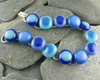 Shades of Blue Fused Glass Bracelet / Modern Jewelry / Blue Bracelet / Gift for her / Everyday Jewelry / Handmade in Texas